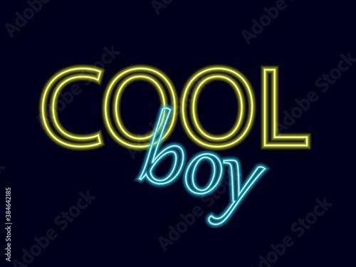 Fototapeta Neon inscription cool boy on a dark background. Neon lettering for design. obraz na płótnie