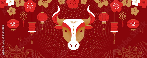 Obraz Chinese new year 2021 year of the ox, Chinese zodiac symbol, Chinese text says