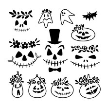 Set Of Scary And Funny Faces Of Halloween Pumpkins, Ghosts Isolated On White Background. Vector Doodle Outline Illustration. Design For Website, Halloween Festival, Greeting Card, Print