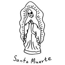 Dead Woman Statue On White Isolated Backdrop. Santa Muerte Statuette For Invitation Or Gift Card, Notebook, Bath Tile, Scrapbook. Phone Case Or Cloth Print Art. Doodle Style Stock Vector Illustration