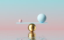 3d Render, Balls Placed On Scales With Reflection In The Water, Isolated On Pastel Pink Blue Background. Primitive Geometric Shapes. Balance And Comparison Metaphor. Modern Minimal Design