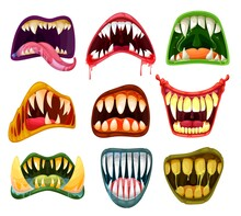 Monster Mouths And Teeth Cartoon Vector Set Of Halloween Scary Beasts. Horror Smiles, Crazy Laugh, Tongues, Salvia, Blood And Fangs Of Creepy Alien, Vampire And Devil, Dracula, Demon And Zombie