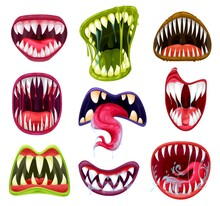 Halloween Monster Mouths, Teeth And Tongues Cartoon Vector Set. Scary Devil And Vampire Smiles, Crazy Horror Faces Of Alien Beasts And Angry Zombies With Sharp Fangs, Saliva, Lips And Blood Drops