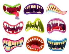 Mouth And Teeth Of Halloween Monsters Vector Set. Cartoon Scary Smile Expressions With Alien Animal Tongues, Vampire, Beast, Devil Or Demon Creature Creepy Lips And Fangs With Blood And Saliva