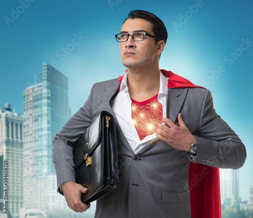 Superhero preparing to save the city