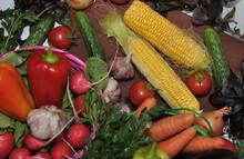 Ripe Corn And Fresh Vegetables...