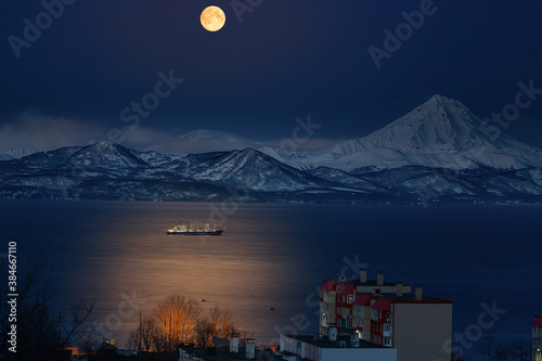 Kamchatka, moonlight sonata from the window Wallpaper Mural
