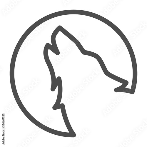 Canvas Wolf howling at moon line icon, Halloween concept, Wolf and moon sign on white background, Howling coyote icon in outline style for mobile concept and web design