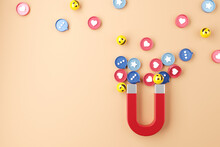 Social Media Marketing Concept. Attracting (emoji, Like, Love, Star, Comment Icon) With A Huge Magnet, 3d Render. Copy Space.