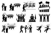 Politic Candidate Rally During Presidential Election Campaign. Vector Illustration Of A President Or Prime Minister Giving Speech And Supporters Giving Supports To Their Political Party.