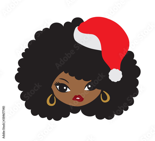 Vector illustration of an African American black girl with an afro hair and Christmas Santa hat.