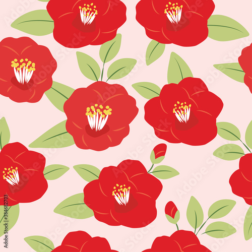 Vector camellia flowers seamless pattern Wallpaper Mural