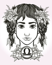 Libra Astrological Sign. Hand Drawn Art Of A Young Pretty Girl. Coloring Book, Tattoo Art. Isolated Vector Illustration