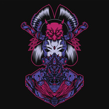 Illustration Of Japanese Culture Geisha With Mecha Theme, Perfect For T-shirt Design, Merchandise Design, Logo Design, Etc.