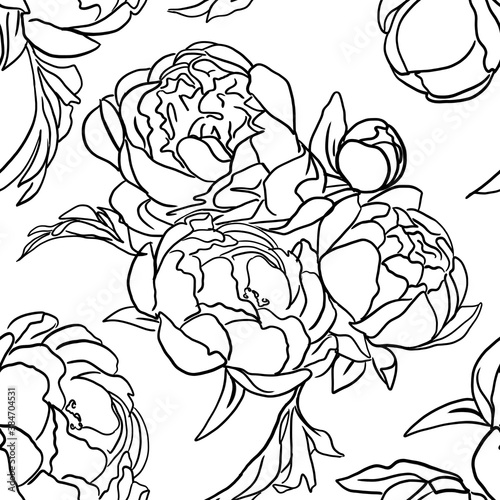 Fototapety, obrazy:  seamless pattern  with outline white background