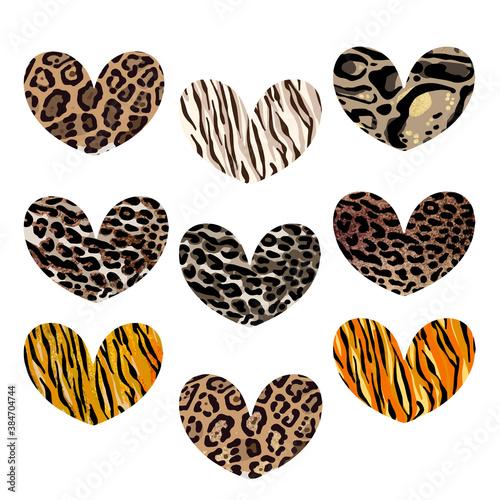 Naklejka premium Heart set with animalistic print. Leopard, jaguar, lion, tiger skin print. Fashion Design for print, poster, card, t-shirt, badges and sticker.