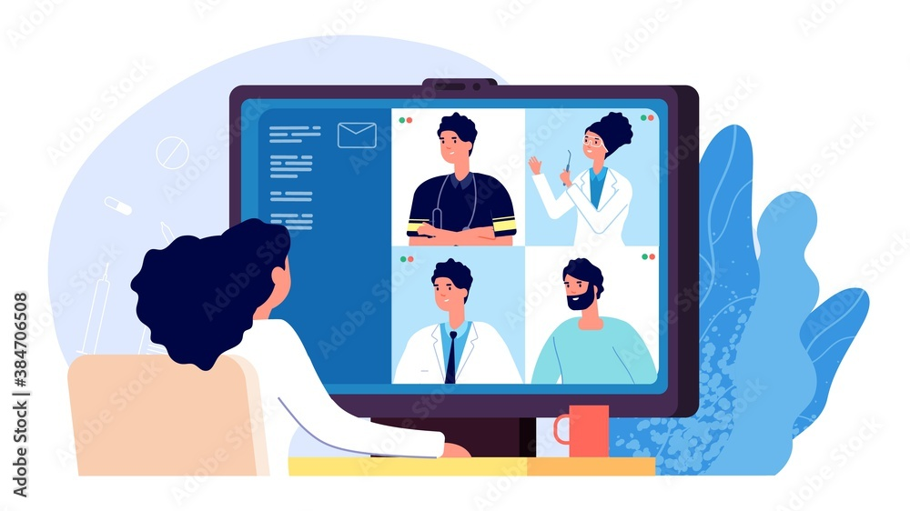 Fototapeta Medical conference online. Doctor video call, paramedic nurse healthcare communicating. Telemedicine, science distance discussion vector illustration. Conference doctor consult, advice video online