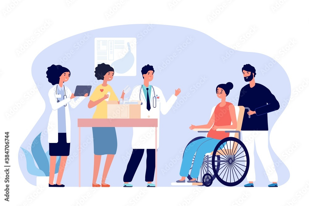 Fototapeta Volunteer doctors. Medical humanitarian aid, donations drugs for patients. Medical team gift medicines for disabled woman vector concept. Illustration support and donation, box charity