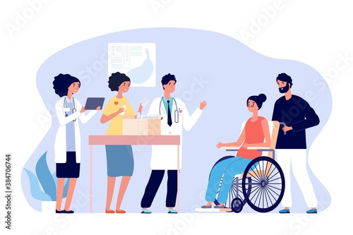Volunteer doctors. Medical humanitarian aid, donations drugs for patients. Medical team gift medicines for disabled woman vector concept. Illustration support and donation, box charity - 384706744