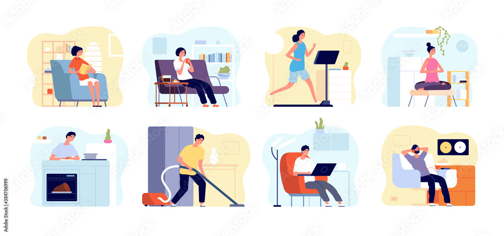 Fototapeta People relax home. Man read book, apartments interiors with leisuring persons. Weekend time, home yoga meditation, cooking vector concept. Home weekend, leisure read book or listen music illustration