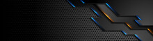 Futuristic Technology Background With Blue Orange Neon Glowing Lights. Vector Banner Perforated Design