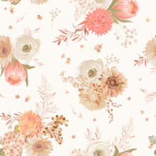 Seamless Floral Pattern, Pastel Dry Flowers Dahlia, Anemone, Protea. Vector Illustration Design, Watercolor