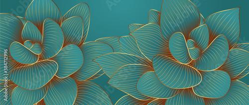 Obraz na płótnie Luxurious green emerald background design with golden lotus