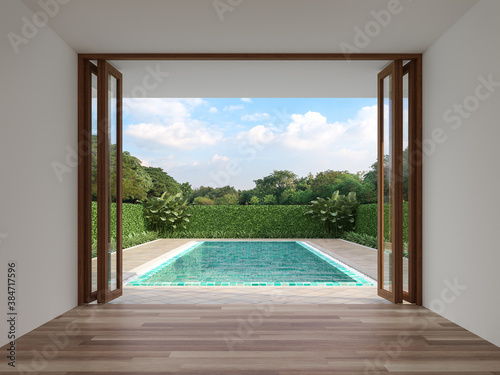 Modern contemporary empty room with swimming pool background 3d render, The room has wood floor white wall and wooden folding door opens to see the pool terrace and nature view.