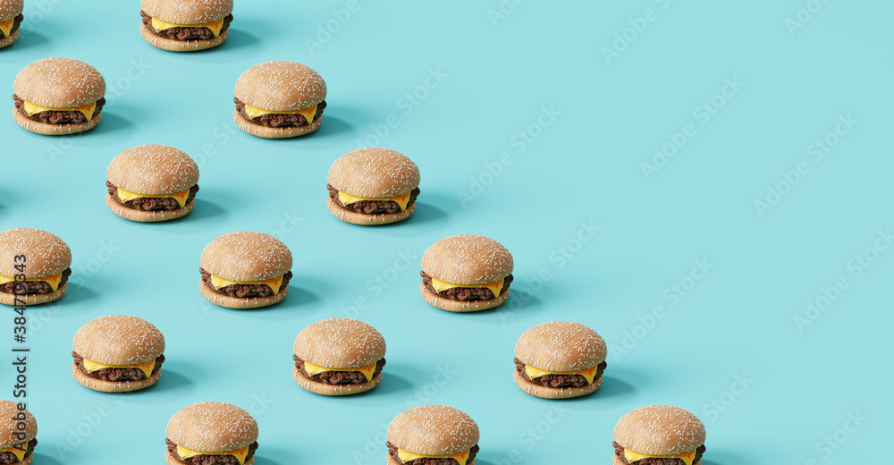 Fototapeta Fast food pattern of cheese burger on blue background. 3d illustration