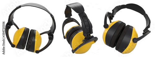 Photo Set of protective yellow earphones muffs isolated on a white with clipping path