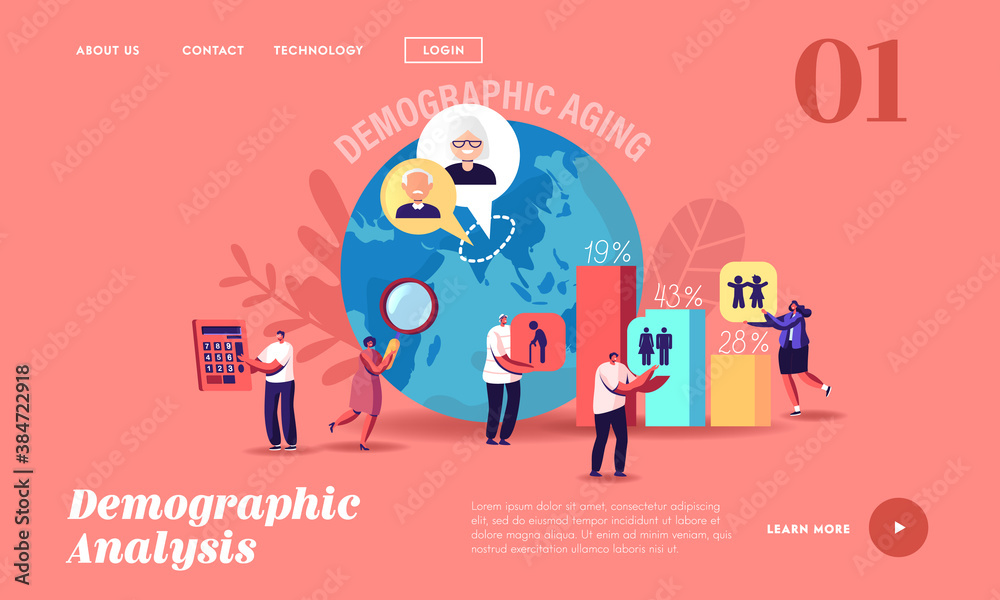 Fototapeta Demographic Aging Statistics Data Landing Page Template. Young, Adult and Old Human Ages in World and Countries
