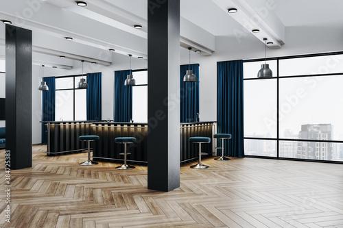 Fototapeta Modern office hall with bar counter and city view. obraz na płótnie