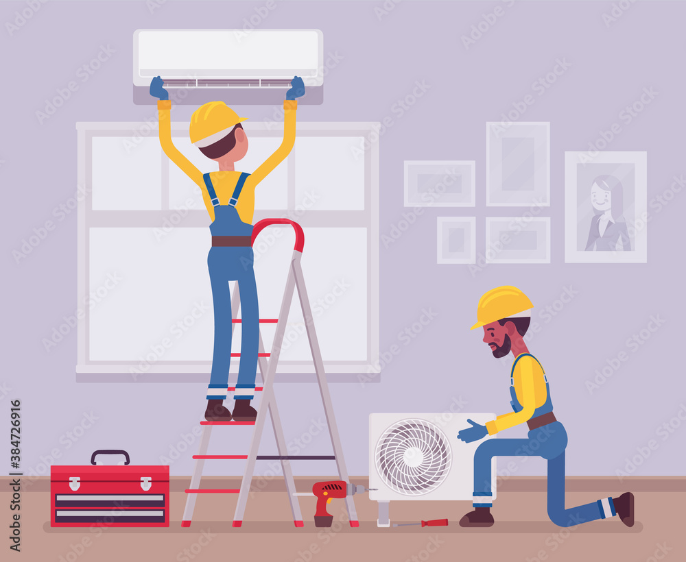 Fototapeta Air Conditioner installation by service technicians at home. Professional crew working in a room to handle new split system outdoor unit and indoor cabinet. Vector flat style cartoon illustration