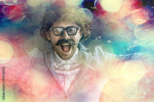 parody of a portrait of  scientist with his tongue hanging out,  guy  joke Canvas Print