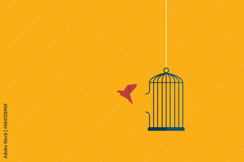 Fototapeta Flying bird and cage. Freedom concept. Emotion of freedom and happiness. Minimalist style.