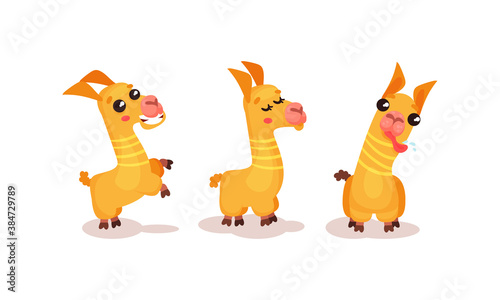 Naklejka premium Cute Llama or Alpaca Animal Sticking out Tongue Vector Set