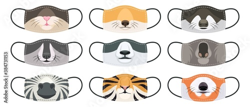 Naklejka premium Medical mask with animals faces. Fun reusable mouth masks with various wild and domestic animal, kids and adults clothes with print Covid-19 virus social protection, cartoon vector set