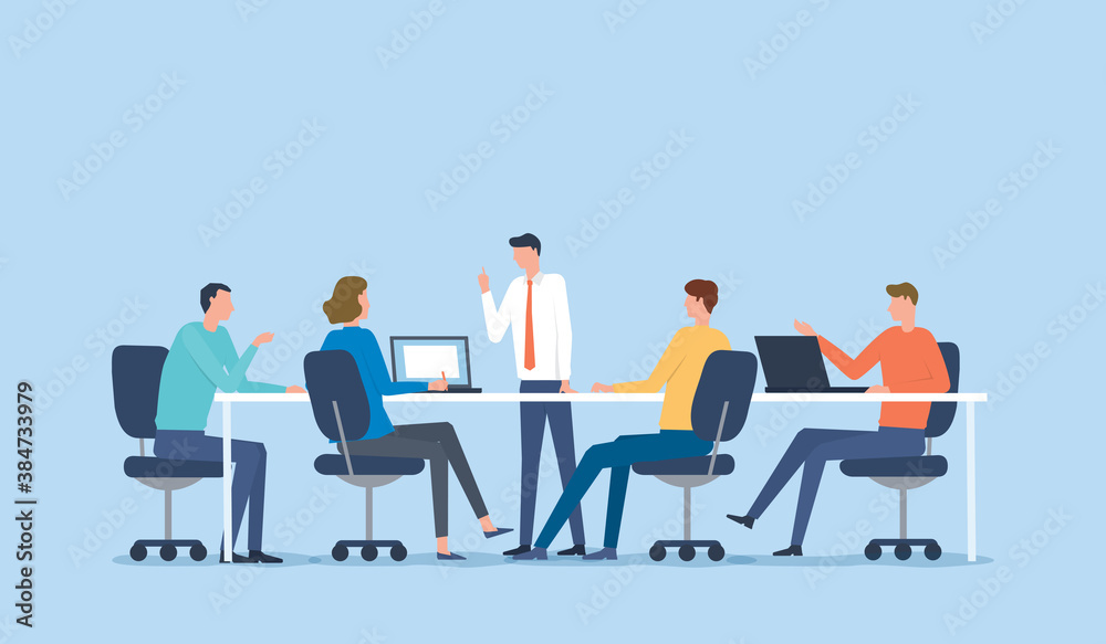 Fototapeta flat vector illustration business team meeting for project brainstorming and business   people planning for marketing strategy concept