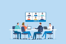 Group Business Team Video Conference Meeting Online And Business People Brainstorming Concept
