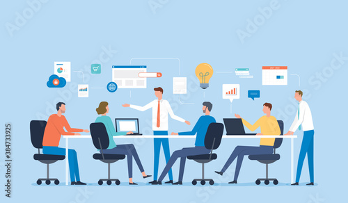 Fototapeta flat vector illustration business team meeting for project brainstorming and business   people planning for marketing strategy concept obraz