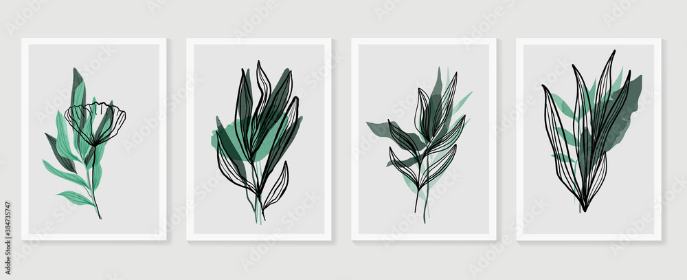 Fototapeta Botanical wall art vector set. Earth tone boho foliage line art drawing with  abstract shape.  Abstract Plant Art design for print, cover, wallpaper, Minimal and  natural wall art.