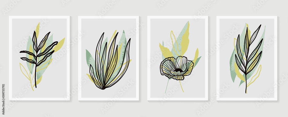 Fototapeta Botanical wall art vector set. Earth tone boho foliage line art drawing with  abstract shape.  Abstract Plant Art design for print, cover, wallpaper, Minimal and  natural wall art.