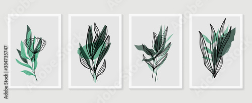 Botanical wall art vector set. Earth tone boho foliage line art drawing with  abstract shape.  Abstract Plant Art design for print, cover, wallpaper, Minimal and  natural wall art. - 384735747