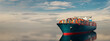 canvas print picture - cargo ship in the middle of the sea.