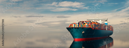 Fotografie, Obraz cargo ship in the middle of the sea.