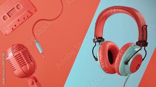 Foto 3D Rendering headphones.