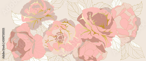 luxury gold rose flower line art wallpaper vector. Exotic botanical background, Lily flower vintage boho style for textiles, wall art, fabric, wedding invitation, cover design Vector illustration..