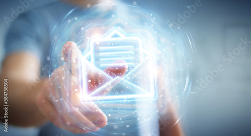 Cuadros en Lienzo Man using digital email blue holographic interface 3D rendering
