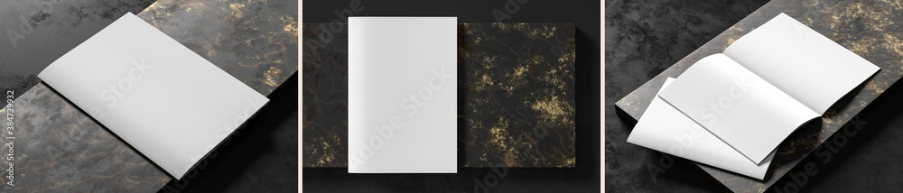 Fototapeta Realistic magazine or catalog mock up on dark granite background. Blank soft cover magazine mockups rendered with three different variations. 3D illustration.