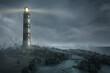 canvas print picture - Leuchtturm im Sturm